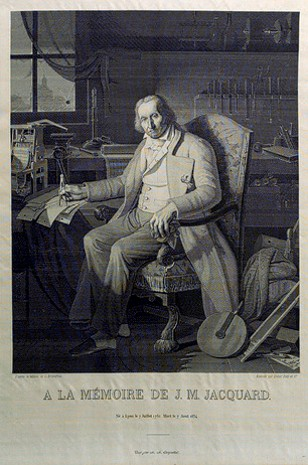 Joseph Marie Jacquard's portrait woven in silk